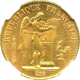 Image of France: 1874-A Gold 20 Fr NGC MS63 (KM-825) 0.1867 oz Gold
