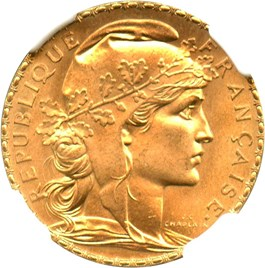 Image of France: 1908 Gold 20 Francs NGC MS66 (KM-857) .1867oz Gold