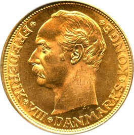 Image of Denmark: 1912-VBP Gold 20 Kronor PCGS MS66 (KM-810) .2593oz Gold