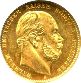 Image of Prussia: 1873-A Gold 10 Mark NGC MS65 (KM-502) .1152oz Gold