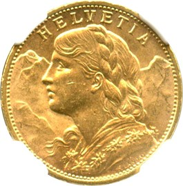 Image of Switzerland: 1915 B Gold 20 Francs NGC MS64 (KM-35.1) .1867oz Gold
