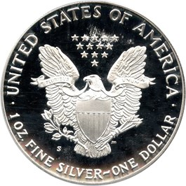 Image of 1990-S Silver Eagle $1 PCGS Proof 70 DCAM (Mercanti Signature)