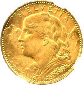 Image of Switzerland: 1922 B Gold 10 Francs NGC MS66 (KM-36) .0933oz Gold