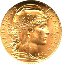 Image of France: 1909 Gold 20 Francs NGC MS64 (KM-857) .1867oz Gold