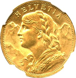 Image of Switzerland: 1898 B Gold 20 Francs NGC MS65 (KM-35.1) .1867oz Gold