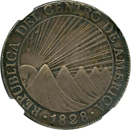 Image of Central American Republic: 1828NG M 8 Reales NGC AU50 (KM-4)