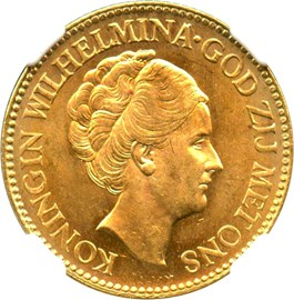 Image of Netherlands: 1932 Gold 10 Gulden NGC MS63 (KM-162) .1947oz Gold