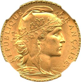 Image of France: 1910 Gold 20 Francs NGC MS65 (KM-857) .1867oz Gold