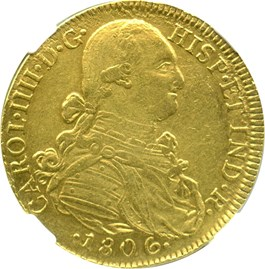 Image of Colombia: 1806-NR JJ 8 Escudos NGC XF45 (KM-62.1) 0.7614oz Gold