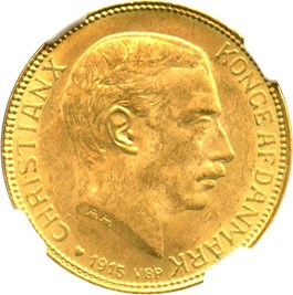Image of Denmark: 1915 VBP AH Gold 20 Kronor NGC MS64 (KM-817.1) .2593oz Gold