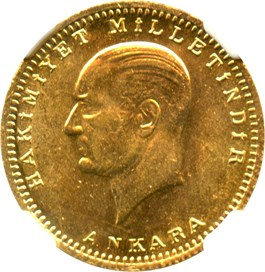 Image of Turkey: 1923/50 Gold 100 Kurush NGC MS63 (KM-855) .2127oz Gold