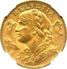 Image of Switzerland: 1927 B Gold 20 Francs NGC MS63 (KM-35.1) .1867oz Gold