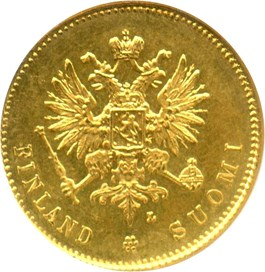 Image of Finland: 1910 Gold 20 Markkaa NGC MS65 (KM-9.2) .1867oz Gold
