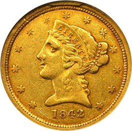 Image of 1842-C $5 NGC XF45 (Small Date)