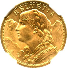 Image of Switzerland: 1912 B Gold 20 Francs NGC MS66 (KM-35.1) .1867oz Gold