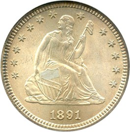 Image of 1891 25c PCGS MS67 (OGH)