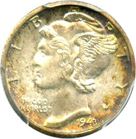 Image of 1943-D 10c PCGS/CAC MS67+ FB