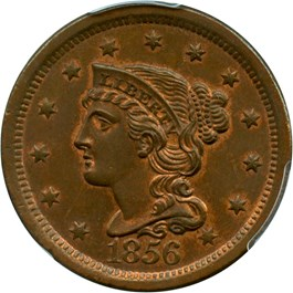 Image of 1856 1c PCGS/CAC MS65 BN (Slanted 5)