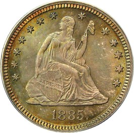 Image of 1885 25c PCGS/CAC MS67