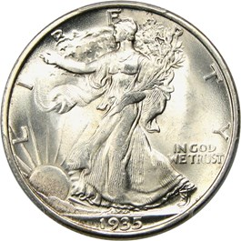 Image of 1935-S 50c PCGS/CAC MS66