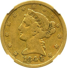 Image of 1844-D $5 NGC/CAC F15