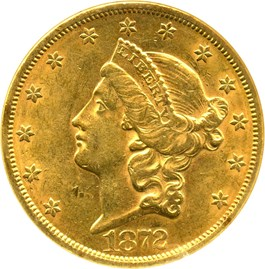 Image of 1872 $20 NGC/CAC AU58