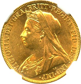 Image of Australia: 1898-M Sov NGC MS62 (KM-13) 0.2355oz Gold