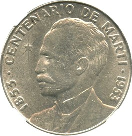 Image of Cuba: 1953 Jose Marti Centennial Peso NGC MS62 (KM-29)