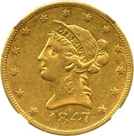 Image of 1847 $10 NGC/CAC AU53