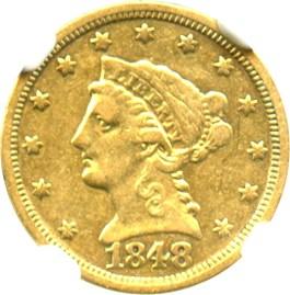 Image of 1848-C $2 1/2 NGC XF40