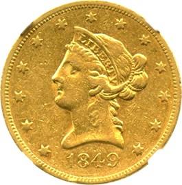 Image of 1849 $10 NGC XF45