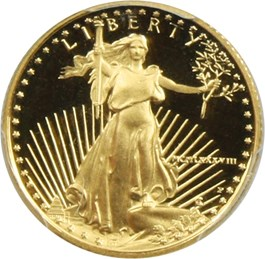 Image of 1988-P Gold Eagle $5 PCGS Proof 69 DCAM