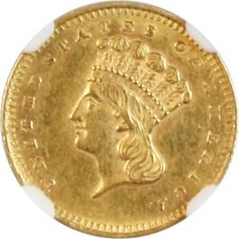 Image of 1858-S G$1 NGC AU58
