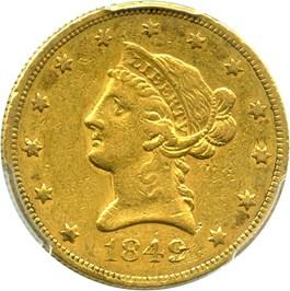 Image of 1849 $10 PCGS XF45