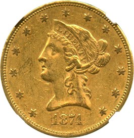 Image of 1874 $10 NGC/CAC AU55