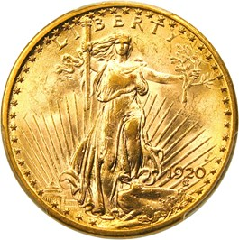Image of 1920 $20 PCGS MS63