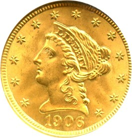 Image of 1906 $2 1/2 NGC/CAC MS65