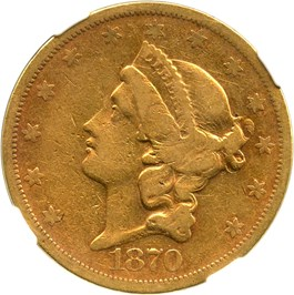 Image of 1870-S $20 NGC/CAC VF25