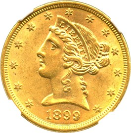 Image of 1899 $5 NGC/CAC MS63
