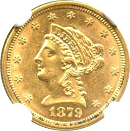Image of 1879 $2 1/2 NGC MS61