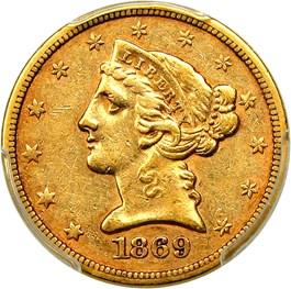 Image of 1869-S $5 PCGS AU50