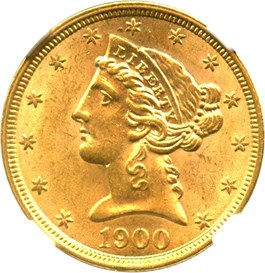 Image of 1900 $5 NGC/CAC MS63