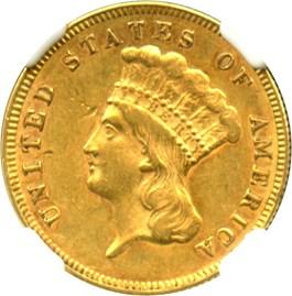 Image of 1874 $3 NGC AU55