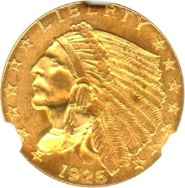 Image of 1926 $2 1/2 NGC/CAC MS63