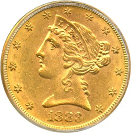 Image of 1883-S $5 PCGS/CAC MS61