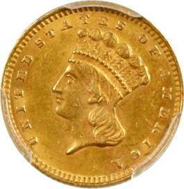 Image of 1862 G$1 PCGS/CAC AU58