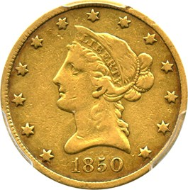 Image of 1850 $10 PCGS/CAC VF20 (Small Date)