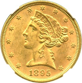 Image of 1895 $5 NGC/CAC MS64