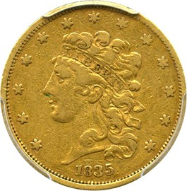 Image of 1835 $5 PCGS/CAC VF30