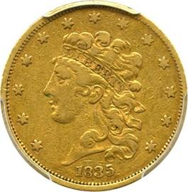 Image of 1835 $5 PCGS/CAC VF30